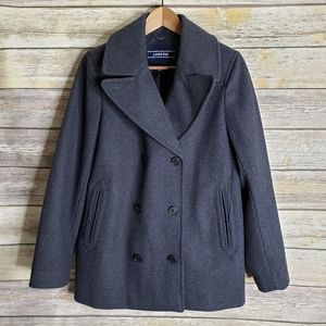 Land's End gray wool pea coat